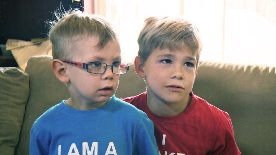 Nolan Laberge, left, was cured of a rare blood cancer thanks to an umbilical cord donation from older brother Nathis, right, made years earlier to a public umbilical cord bank in Montreal.