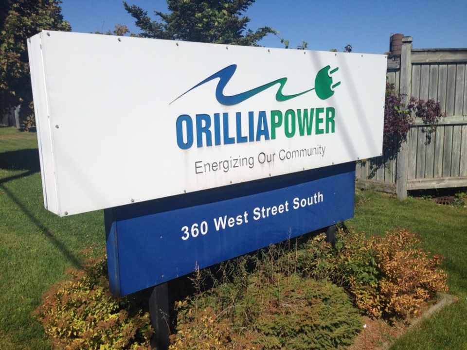 A sign for Orillia Power Distribution can be seen in Orillia, Ont. on Tuesday, Sept. 22, 2015. (Mike Walker/ CTV Barrie)