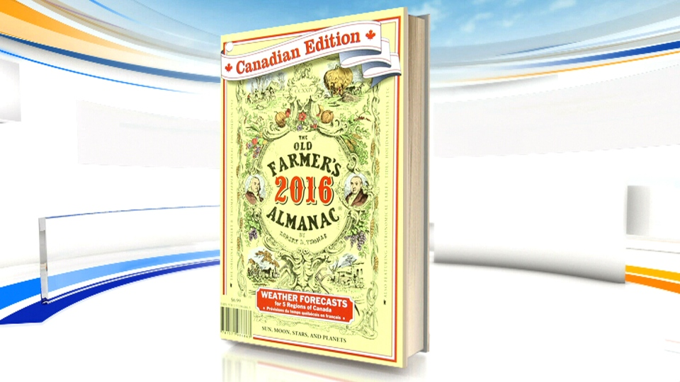 The 2016 Canadian edition of the Old Farmer's Almanac is shown.