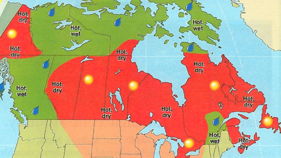 A map of Canada shows the 2016 Old Farmer's Almanac predictions for summer.