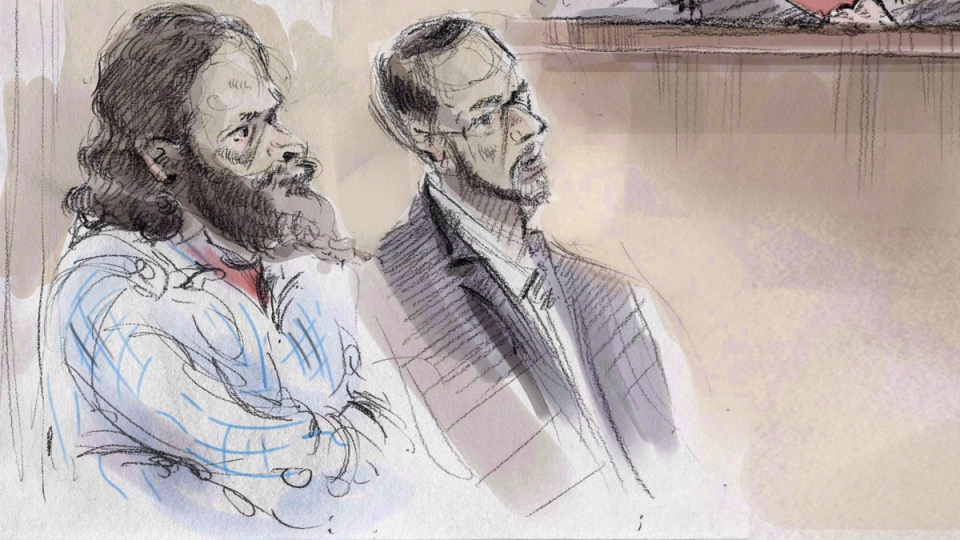 Artist's sketch of Chiheb Esseghaier (left) and Raed Jaser (centre) in court in Toronto on March 5, 2015. (Alexandra Newbould / THE CANADIAN PRESS)