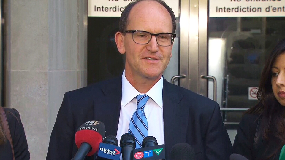 Crown attorney Croft Michaelson speaks after Raed Jaser and Chiheb Esseghaier were sentenced to life in prison, in Toronto, Wednesday, Sept. 23, 2015.