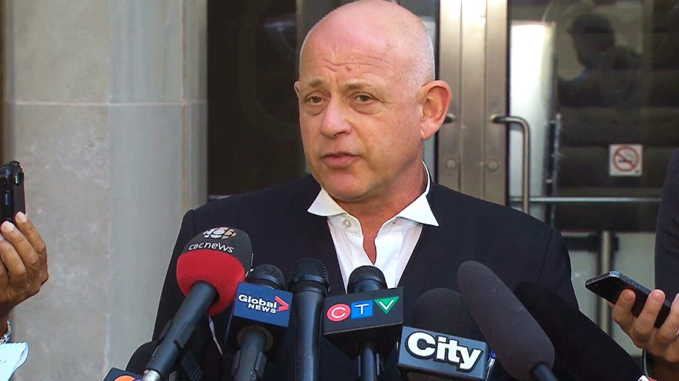Russell Silverstein, advisor to Chiheb Esseghaier, speaks after Esseghaier was sentenced to life in prison, in Toronto, Wednesday, Sept. 23, 2015.