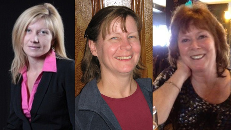 Anastasia Kuzyk, Nathalie Warmerdam and Carol Culleton are pictured in this composite photo. Basil Borutski is on trial for their September 2015 murders. (Point2 Homes, Genevieve Way, Facebook)