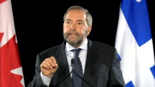 Mulcair delivers a speech in Montreal