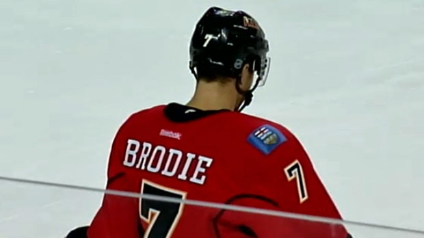 TJ Brodie is back to being healthy after a scary, on-ice incident at practice two weeks ago.