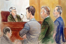 In this courtroom sketch, Vito Rizzuto, right, stands before Judge Nicolas Garaufis with Assistant U.S. Attorney Greg Andres, standing left, and defense attorney John W. Mitchell, center, Friday, May 4, 2007 at federal court in the Brooklyn borough of New York. (AP Photo/Elizabeth Williams)