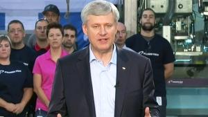 Conservative Leader Stephen Harper speaks