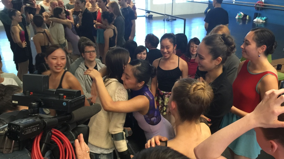 Ballerina Lucila Munaretto, 20, returned to her dance studio on Sept. 26, 2015, six weeks after a serious rollerblading accident. (CTV News).