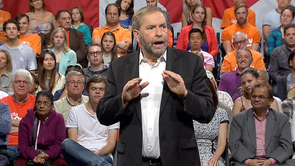 NDP leader Tom Mulcair talks about a proposed climate change plan.