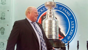 Rob Ford attends an event at the Hockey Hall of Fame in Toronto on Monday, July 30, 2012. (Nathan Denette / THE CANADIAN PRESS)