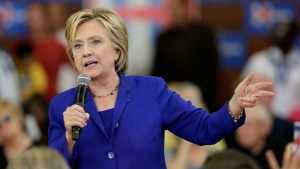 Democratic presidential candidate Hillary Rodham Clinton speaks during a community forum on healthcare, at Moulton Elementary School in Des Moines, Iowa, Sept. 22, 2015. (AP / Charlie Neibergall)