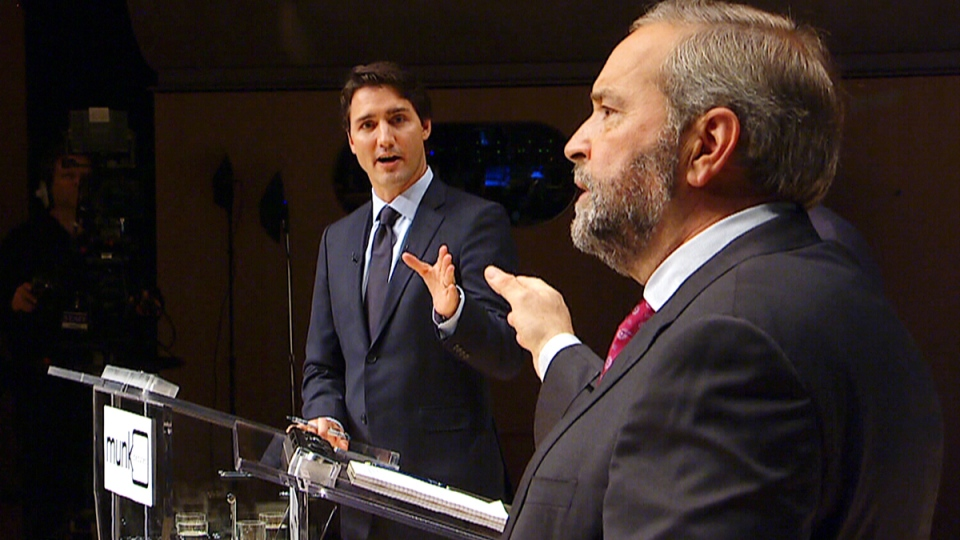 Trudeau and Mulcair spar at leaders' debate