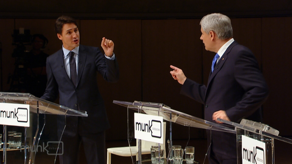 Justin Trudeau and Stephen Harper