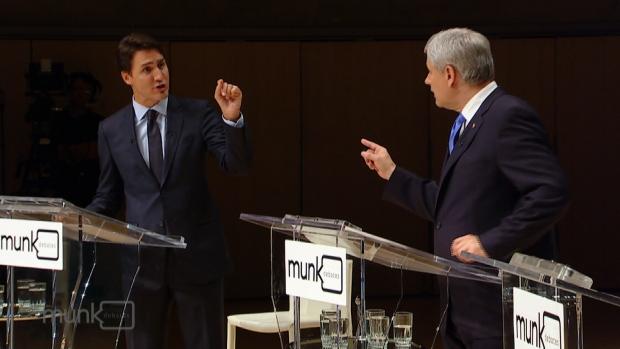 Justin Trudeau and Stephen Harper