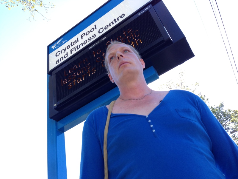 Brittney Remington, who is transgender, said she was about to enter a woman's change room at Victoria's Crystal Pool Sunday when staff told her she had to use the first-aid room. Sept. 29, 2015. (CTV Vancouver Island)