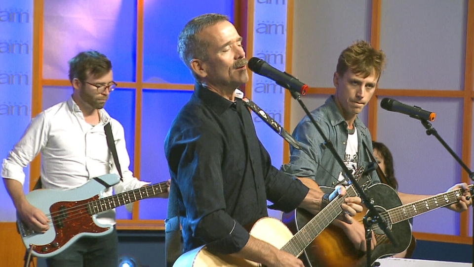 Chris Hadfield sings his single 'Feet Up,' on CTV's Canada AM on Wednesday, Sept. 30.