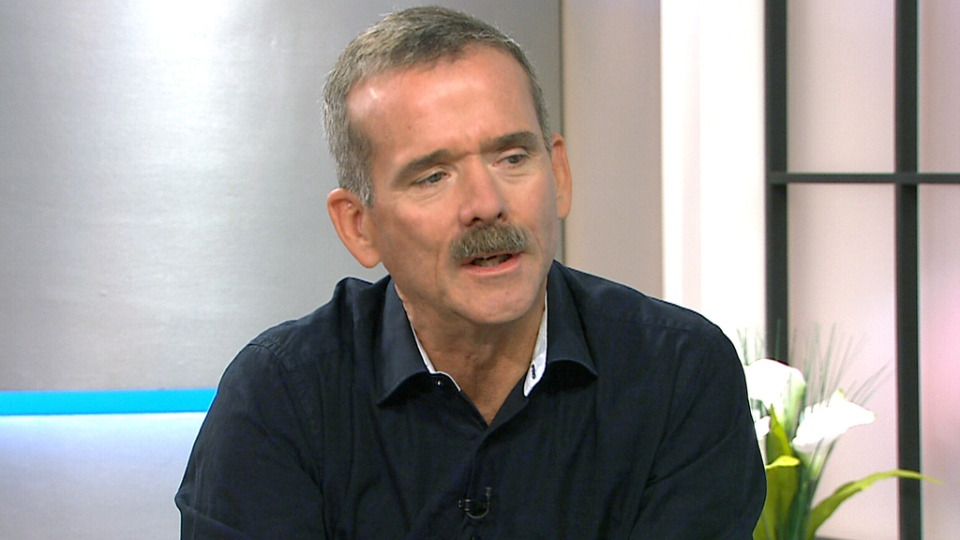 Canadian astronaut Chris Hadfield speaks on CTV's Canada Am on Wednesday, Sept. 30.