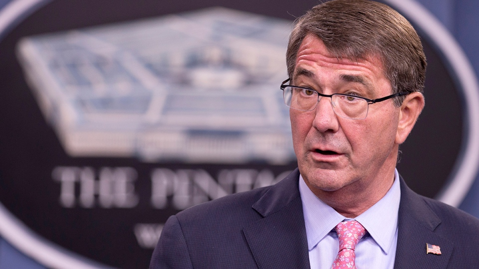 Defense Secretary Ash Carter speaks to reporters during a news conference at the Pentagon, Wednesday, Sept. 30, 2015. (AP / Manuel Balce Ceneta)
