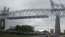 Iconic span of Cornwall bridge lowered today