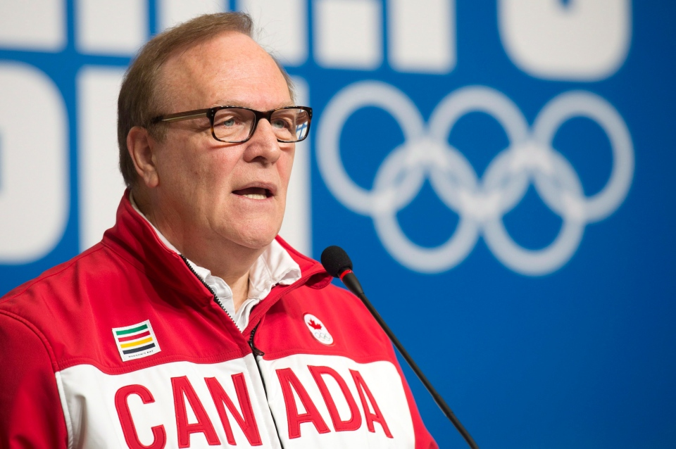 Canadian Olympic Committee President Marcel Aubut speaks at the Sochi Winter Olympics on Feb. 6, 2014 in Sochi, Russia. (Adrian Wyld / THE CANADIAN PRESS)