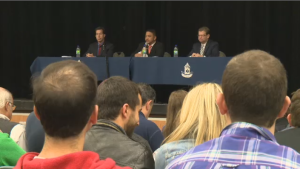 Liberal candidate Anthony Housefather, NDP candidate Jacinto Rimbao and Conservative candidate Robert Libman took part in a debate at Bialik High School Wednesday, Sept. 30, 2015.