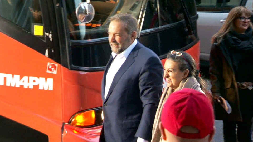 NDP Leader Tom Mulcair arrives at the leaders' debate in Montreal, Friday, Oct. 2, 2015.