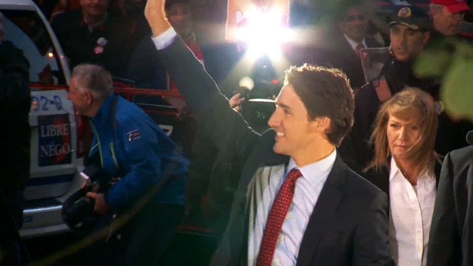 Liberal Leader Justin Trudeau arrives at the leaders' debate in Montreal, Friday, Oct. 2, 2015.