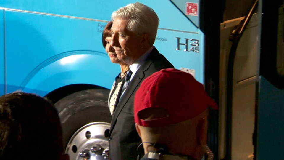 Bloc Quebecois Leader Gilles Duceppe arrives at the leaders' debate in Montreal, Friday, Oct. 2, 2015.