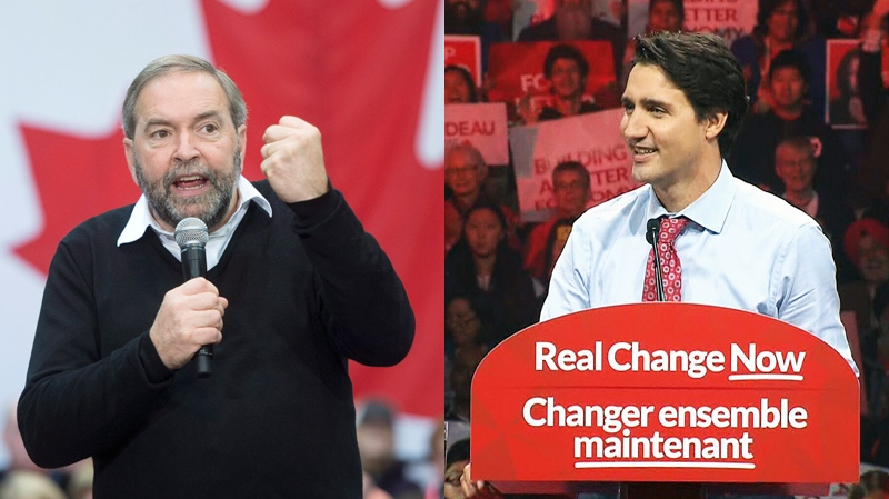 Tom Mulcair and Justin Trudeau