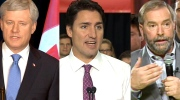 In this composite image, Conservative Leader Stephen Harper, Liberal Leader Justin Trudeau and NDP Leader Thomas Mulcair speak about the TPP trade deal.
