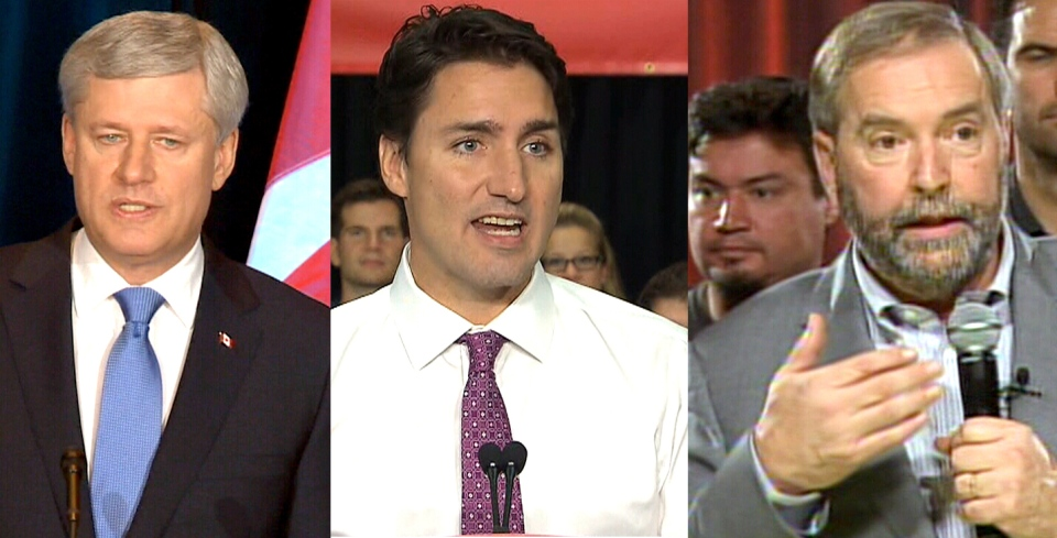 In this composite photo, Conservative Leader Stephen Harper, Liberal Leader Justin Trudeau, and NDP Leader Thomas Mulcair speak to the media on Oct. 5, 2015.