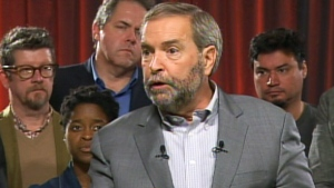 NDP Leader Tom Mulcair speaks at a campaign event in Toronto on Monday, Oct. 5, 2015.