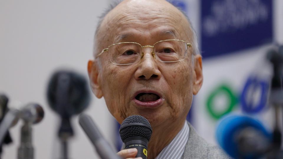 Kitasato University Prof. Emeritus Satoshi Omura speaks during a press conference at the university in Tokyo, Monday, Oct. 5, 2015. (AP / Shizuo Kambayashi)