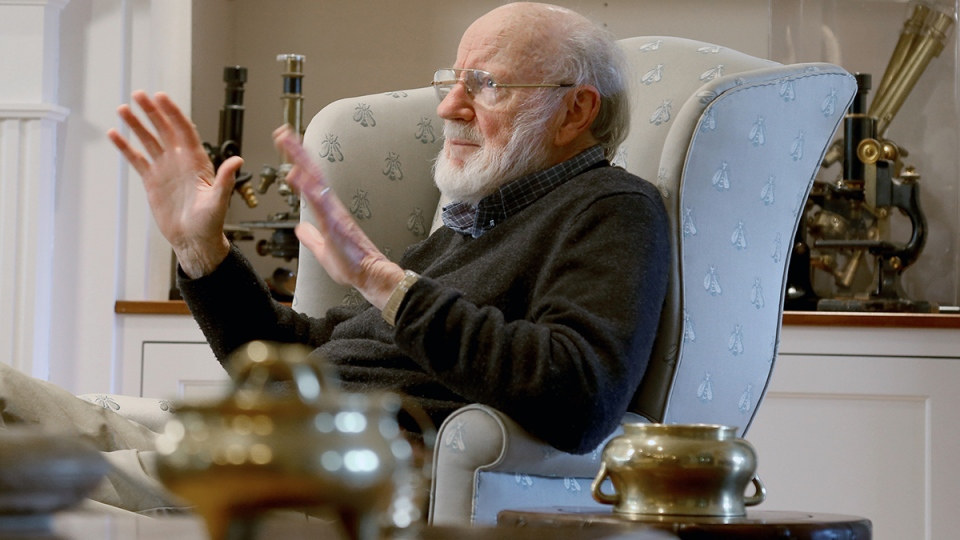 Scientist William C. Campbell talks in his home in North Andover, Mass., Monday, Oct. 5, 2015. (AP / Mary Schwalm)