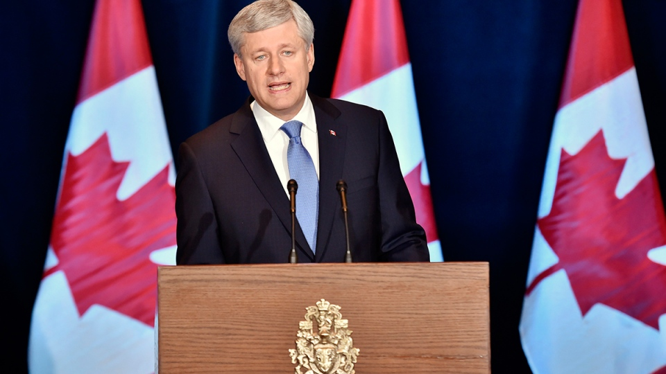 Prime Minister Stephen Harper speaks about the Trans-Pacific Partnership trade deal at a press conference in Ottawa on Monday, Oct.  5, 2015. (Nathan Denette / THE CANADIAN PRESS)