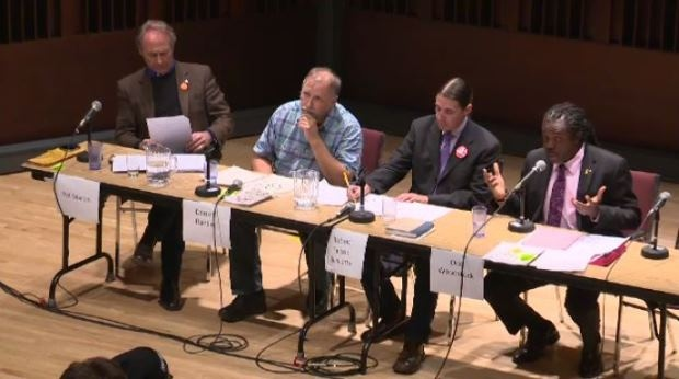 Pat Martin, Darrell Rankin, Robert-Falcon Ouellette and Don Woodstock spoke at the packed debate.