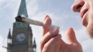 A man is seen smoking marijuana on Parliament Hill in Ottawa, on April 20, 2010. (Pawel Dwulit / THE CANADIAN PRESS)