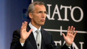 NATO Secretary General Jens Stoltenberg at NATO headquarters in Brussels on Oct. 6, 2015. (Virginia Mayo / AP)