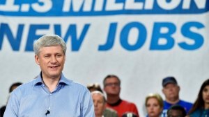 Stephen Harper speaks during an election campaign stop at Global Systems Emissions Inc., in Whitby, Ont., on Oct. 6, 2015. (Nathan Denette / THE CANADIAN PRESS)