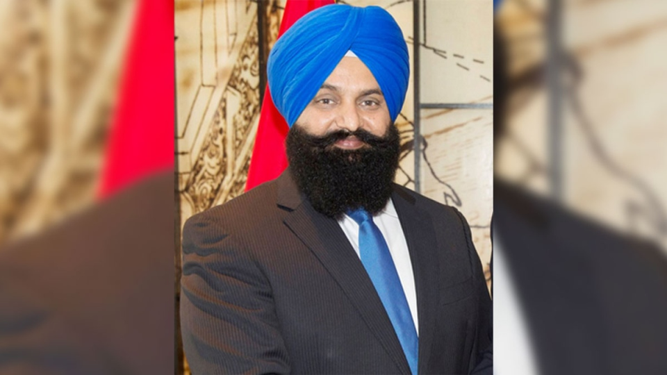 Former Conservative candidate Jagdish Grewal is seen in a photo posted on his official website. Grewal wrote an editorial in the Punjabi Post earlier this year entitled 'Is it wrong for a homosexual to become a normal person?'