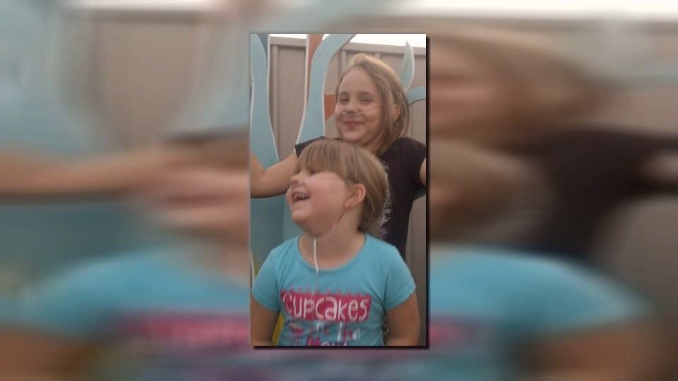 The girls had to use oxygen tanks 24 hours a day before taking cannabis oil, according to their mother, Bobby-Jo. Oct. 6, 2015. (CTV Vancouver Island)