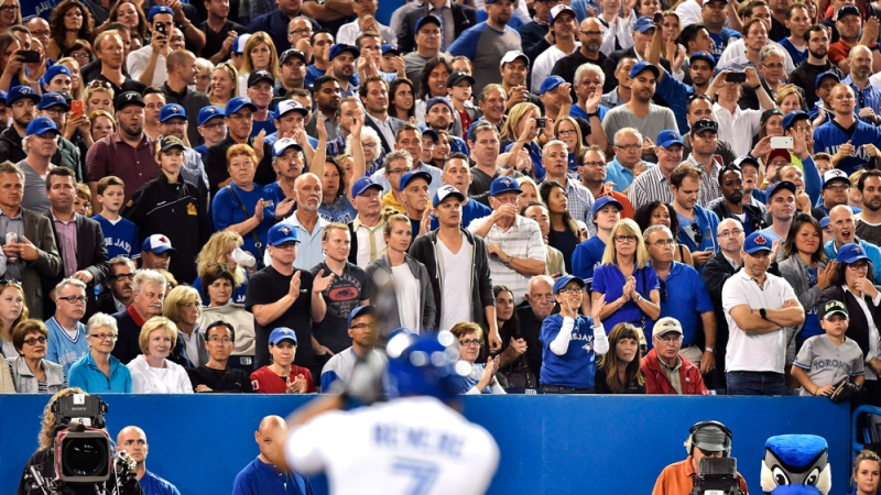 Toronto Blue Jays fans stand on their feet cheering in Toronto. (Nathan Denette / THE CANADIAN PRESS)