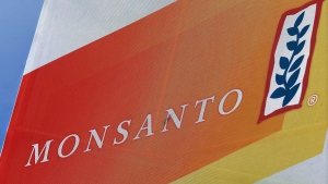 Monsanto logo at the Farm Progress Show in Decatur, Ill., on Aug. 31, 2015. (Seth Perlman / AP)