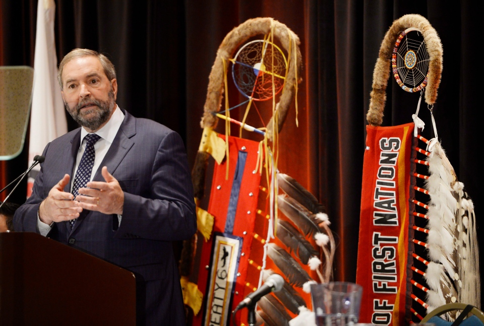 NDP Leader Tom Mulcair speaks to the Assembly of First Nations in Enoch, Alta., on Wednesday, Oct. 7, 2015. (Ryan Remiorz / THE CANADIAN PRESS)
