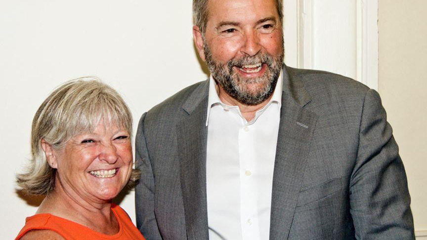 NDP candidate Susan Erskine-Fournier is seen here with NDP Leader Tom Mulcair.