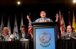Assembly of First Nations national Chief Perry Bellegarde gives the keynote speech at the AFN's annual conference in Montreal on Tuesday, July 7, 2015. (Ryan Remiorz / THE CANADIAN PRESS)