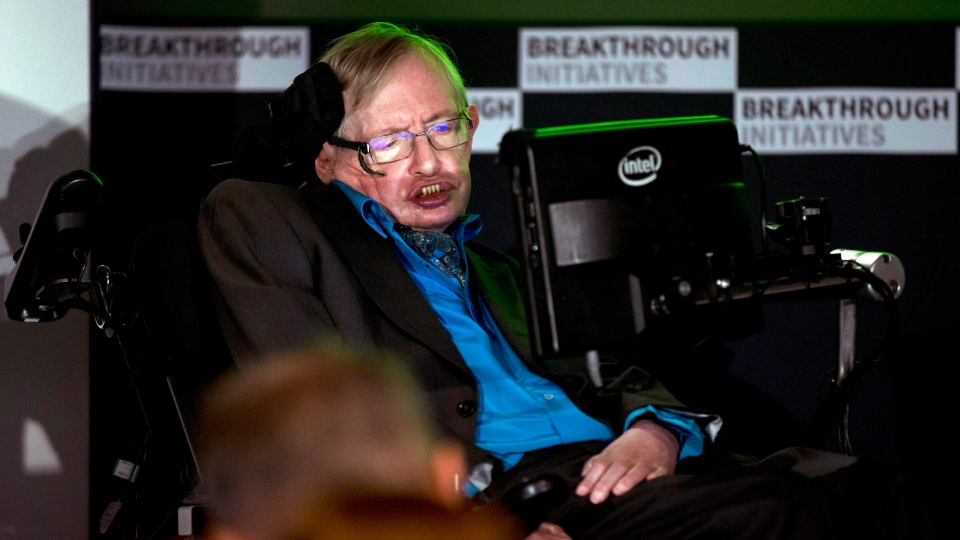 Renowned physicist Stephen Hawking attends a press conference in London, Monday, July 20, 2015. (AP / Matt Dunham)
