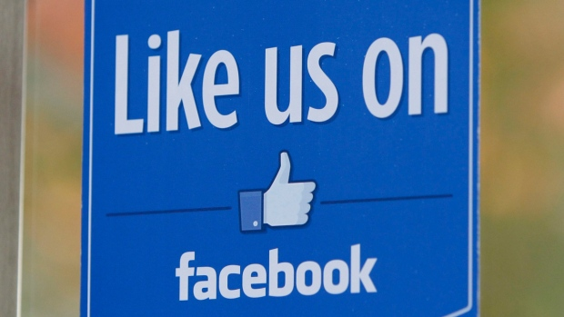 A sign with Facebook's 'Like' logo