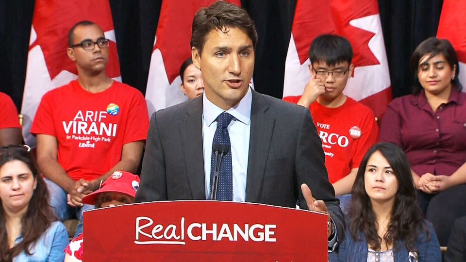 Liberal Leader Justin Trudeau speaks to the media on Oct. 8, 2015.